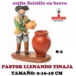 Figuras Belen Estilo Salzillo en barro Grupos-8- PASTOR CON TINAJA 9-16-18 CM