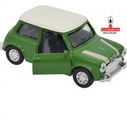 Mini Cooper, Color verde con el techo blanco , Escala 1:32