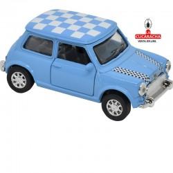 Mini Cooper, Color azul claro con el techo a cuadros azul y blanco, Escala 1:32