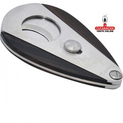 Cortapuros metálico, forma oval, apertura automática, hecho en acero inoxidable madera, color cromado y nogal