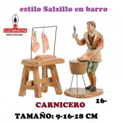 Figuras Belen Estilo Salzillo en barro Grupos-16-CARNICERO 9-16-18 CM