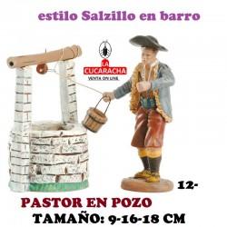 Figuras Belen Estilo Salzillo en barro Grupos-PASTOR CON POZO 9-16-18 CM.