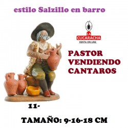 Figuras Belen Estilo Salzillo en barro Grupos-PASTOR VENDIENDO CANTAROS 9-16-18 CM.