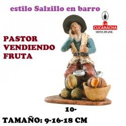 Figuras Belen Estilo Salzillo en barro Grupos-PASTOR VENDIENDO FRUTA 9-16-18 CM.