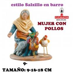Figuras Belen Estilo Salzillo en barro Grupos-MUJER CON POLLOS 9-16-18 CM.