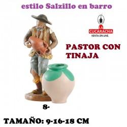 Figuras Belen Estilo Salzillo en barro Grupos- PASTOR LLENANDO TINAJA 9-16-18 CM.