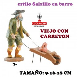 Figuras Belen Estilo Salzillo en barro Grupos- VIEJO CON CARRETON 9-16-18 CM.