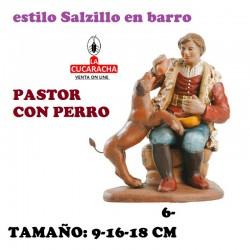 Figuras Belen Estilo Salzillo en barro Grupos- PASTOR CON PERRO 9-16-18 CM.