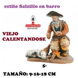 Figuras Belen Estilo Salzillo en barro Grupos- VIEJO CALENTANDOSE 9-16-18 CM.