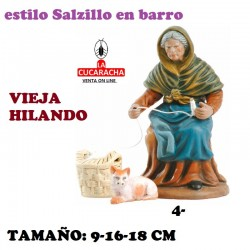 Figuras Belen Estilo Salzillo en barro Grupos- VIEJA HILANDO 9-16-18 CM.