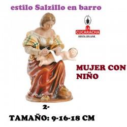 Figuras Belen Estilo Salzillo en barro Grupos- MUJER CON NIÑO 9-16-18 CM.
