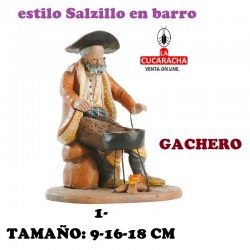 Figuras Belen Estilo Salzillo en barro Grupos- GACHERO 9-16-18 CM.