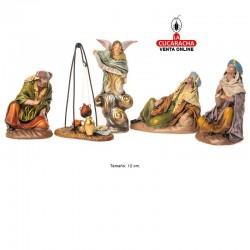 Anunciacion a los Pastores Estilo Samaritano con tela-12cm. Conjunto