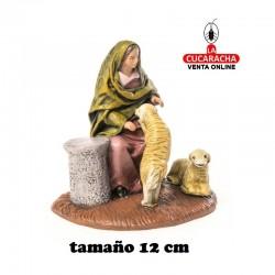 Pastora con Corderos Estilo Samaritano con tela-12cm. Conjunto