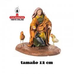 Mujer con Pollos Estilo Samaritano con tela-12cm. Conjunto