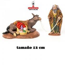 Pastor con Burra Caida Estilo Samaritano con tela-12cm. Conjunto