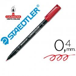 Rotulador Lumocolor 313-2 Rojo Punta Super Fina Redonda 0.4 mm. Caja de 10
