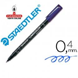Rotulador Lumocolor 313-3 Azul Punta Super Fina Redonda 0.4 mm. Caja de 10