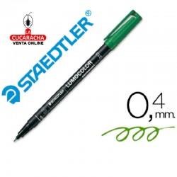 Rotulador Lumocolor 313-5 Verde Punta Super Fina Redonda 0.4 mm. Caja de 10