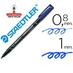 Rotulador Lumocolor 317-3 Azul Punta Media Redonda 0.8-1 mm. Caja de 10