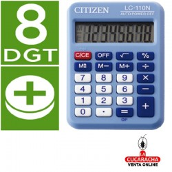 Calculadora Citizen Bolsillo LC-110. 8 Digitos Celeste