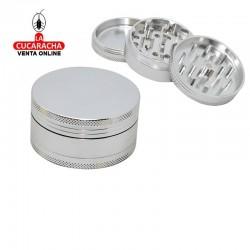 Pack 6 grinder metálicos, 3 partes, hecho en aluminio, diámetro 63 mm, color cromado