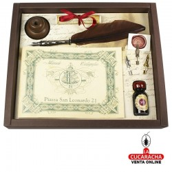 Set escritura antiguo con pluma de ave, 4 plumines, 1 bote de tinta y 1 posa plumas de madera