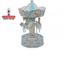 Carrusel giratorio musical en poliresina, tamaño mediano, color azul y plateado