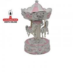 Carrusel giratorio musical en poliresina, tamaño pequeño, color rosa y plateado