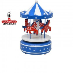 Carrusel madera musical giratorio, tamaño pequeño, color azul marino y blanco