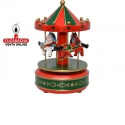 Carrusel madera musical giratorio, tamaño pequeño, color verde y rojo