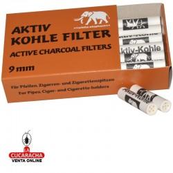 10 Cajas de 40 Filtros WHITTE ELEPHANT 9mm Pipa Fumar Carbon Aktif.