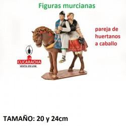 Figuras Murcianas Tradicionales PAREJA HUERTANOS A CABALLO 20 CM