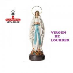 Virgen de Lourdes en barro 25 cm