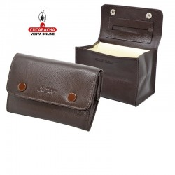 Bolsa para picadura de tabaco, enrollable, hecha en piel, color marron, interior en latéx