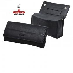 Bolsa para picadura de tabaco, hecha en piel, color negro, interior en latéx, con compartimento para los libritos de papel