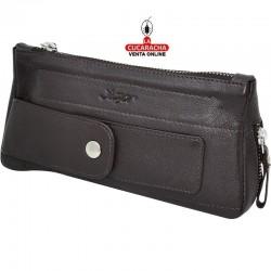 Bolsa para 1 pipa, tabaco y accesorios,  piel, marrón, funda exterior para el atacador