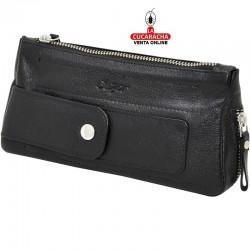 Bolsa para 1 pipa, tabaco y accesorios, hecha en piel, color negra