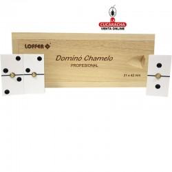 Dominó chamelo en caja de madera de pino, fichas de acetato de celulosa, tamaño de la ficha 21x42mm