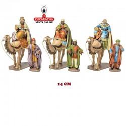 Figuras Belen Estilo Salzillo con tela REYES EN CAMELLO 14 cm. TRIO.