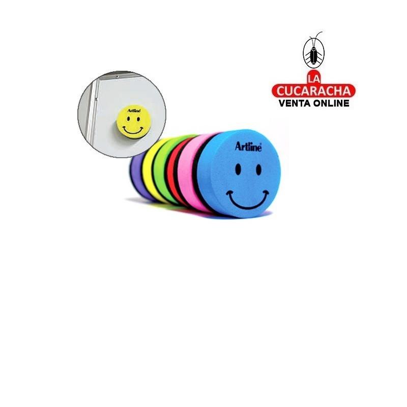 Borrador ARTLINE Pizarra Blanca Redondo Magnetico Cara Smiley Colores Surtidos.- Unidadx24