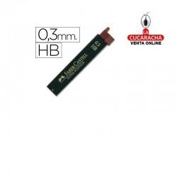 Minas FABER Grafito 9063 0,3mm HB -Estuche 12 Minas.- Unidadx12