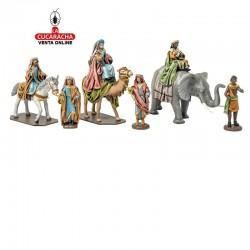 Figuras Belen Estilo Hebreo con tela Grupo Reyes con Elefante,Camello y Caballo 10 cm.
