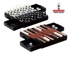 Ajedrez-damas-backgammon magnético para viaje