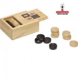 Fichas de camas en caja de madera, tamaño de la ficha 2,5x2,5cm