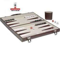 Backgammon en maletín de polipiel, color marrón