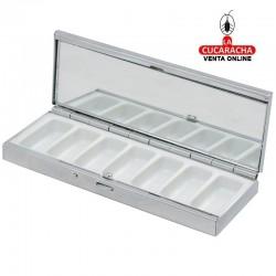 Pack 3 pastilleros rectangulares metálicos con 7 compartimentos, tapa forrada en piel marrón