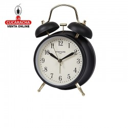 Despertador metálico redondo con campana, modelo Vintage, color negro