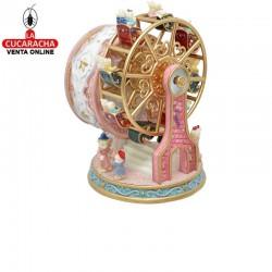 Noria musical giratoria con ositos, material poliresina, color rosa