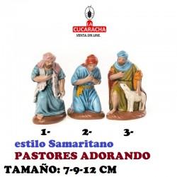 Figuras Belen Estilo Samaritano PASTORES ADORANDO 12 cm.